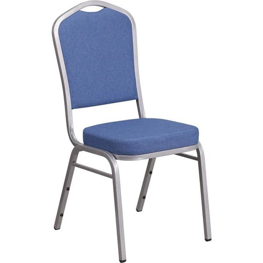 Hercules Series Crown Back Stacking Banquet Chair In Blue Fabric - Silver Frame - Banquet/church Stack Chairs