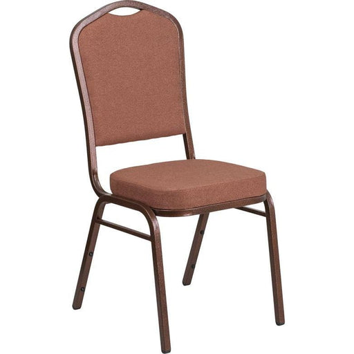 Hercules Series Crown Back Stacking Banquet Chair In Brown Fabric - Copper Vein Frame - Banquet/church Stack Chairs