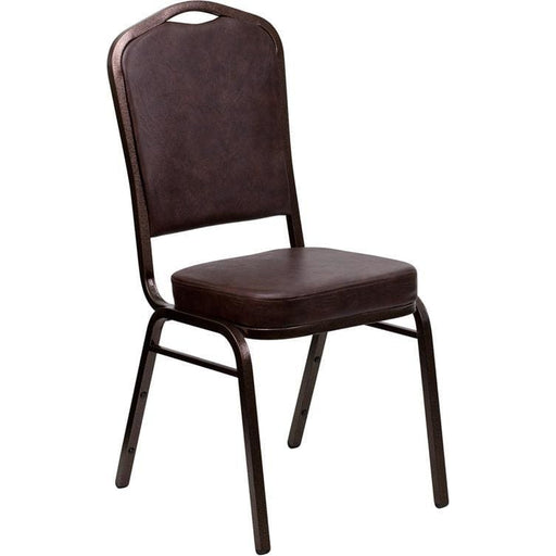 Hercules Series Crown Back Stacking Banquet Chair In Brown Vinyl - Copper Vein Frame - Banquet/church Stack Chairs