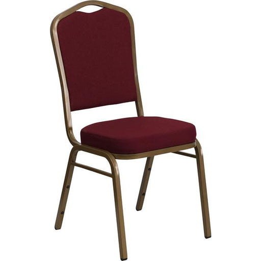 Hercules Series Crown Back Stacking Banquet Chair In Burgundy Fabric - Gold Frame - Banquet/church Stack Chairs