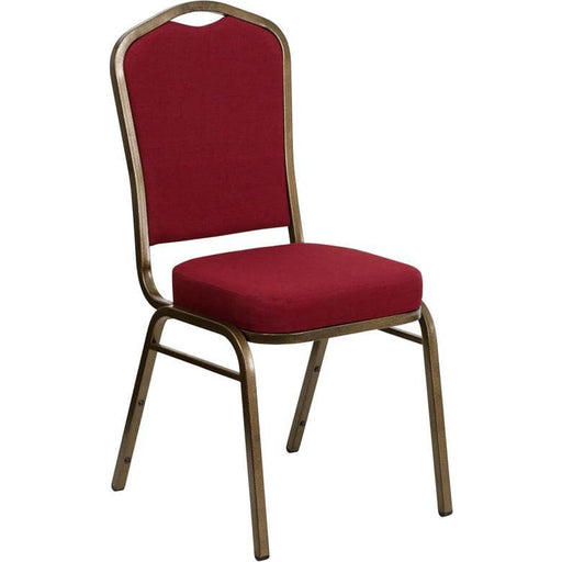 Hercules Series Crown Back Stacking Banquet Chair In Burgundy Fabric - Gold Vein Frame - Banquet/church Stack Chairs