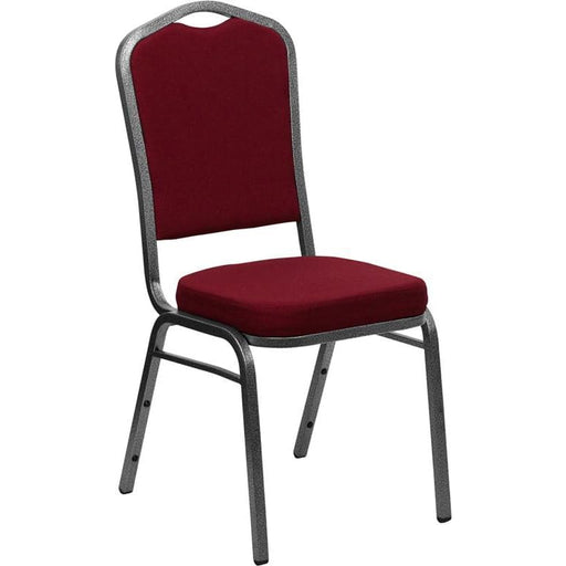 Hercules Series Crown Back Stacking Banquet Chair In Burgundy Fabric - Silver Vein Frame - Banquet/church Stack Chairs