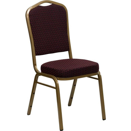 Hercules Series Crown Back Stacking Banquet Chair In Burgundy Patterned Fabric - Gold Frame - Banquet/church Stack Chairs
