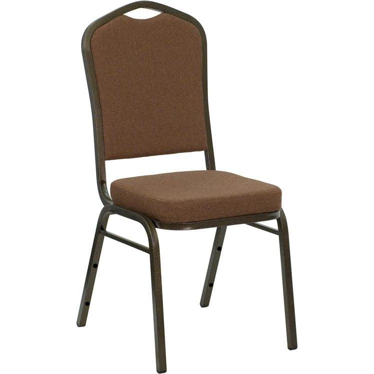 Hercules Series Crown Back Stacking Banquet Chair In Coffee Fabric - Gold Vein Frame - Banquet/church Stack Chairs
