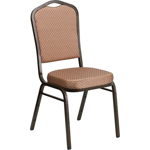 Hercules Series Crown Back Stacking Banquet Chair In Gold Diamond Patterned Fabric - Gold Vein Frame - Banquet/church Stack Chairs