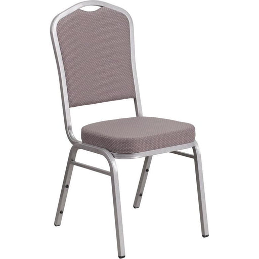 Hercules Series Crown Back Stacking Banquet Chair In Gray Dot Fabric - Silver Frame - Banquet/church Stack Chairs