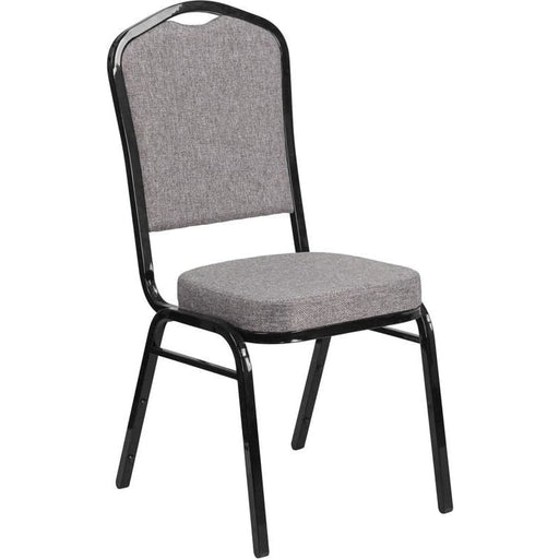 Hercules Series Crown Back Stacking Banquet Chair In Gray Fabric - Black Frame - Banquet/church Stack Chairs