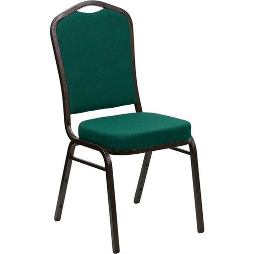 Hercules Series Crown Back Stacking Banquet Chair In Green Fabric - Gold Vein Frame - Banquet/church Stack Chairs