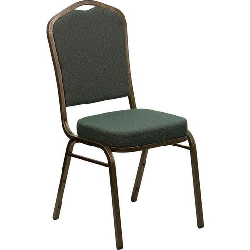 Hercules Series Crown Back Stacking Banquet Chair In Green Patterned Fabric - Gold Vein Frame - Banquet/church Stack Chairs