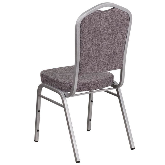 Hercules Series Crown Back Stacking Banquet Chair In Herringbone Fabric - Silver Frame - Banquet/church Stack Chairs