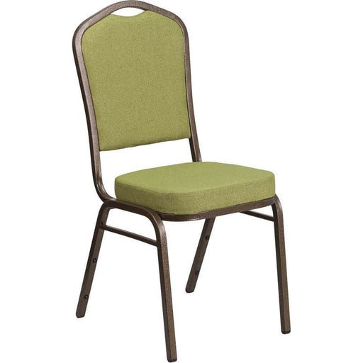 Hercules Series Crown Back Stacking Banquet Chair In Moss Fabric - Gold Vein Frame - Banquet/church Stack Chairs
