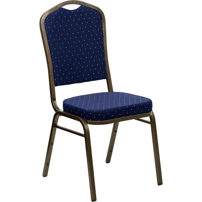 Hercules Series Crown Back Stacking Banquet Chair In Navy Blue Dot Patterned Fabric - Gold Vein Frame - Banquet/church Stack Chairs