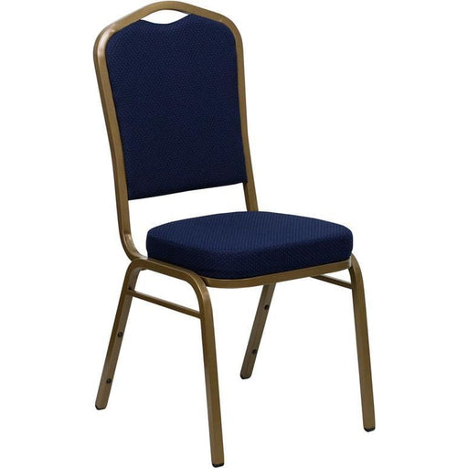 Hercules Series Crown Back Stacking Banquet Chair In Navy Blue Patterned Fabric - Gold Frame - Banquet/church Stack Chairs