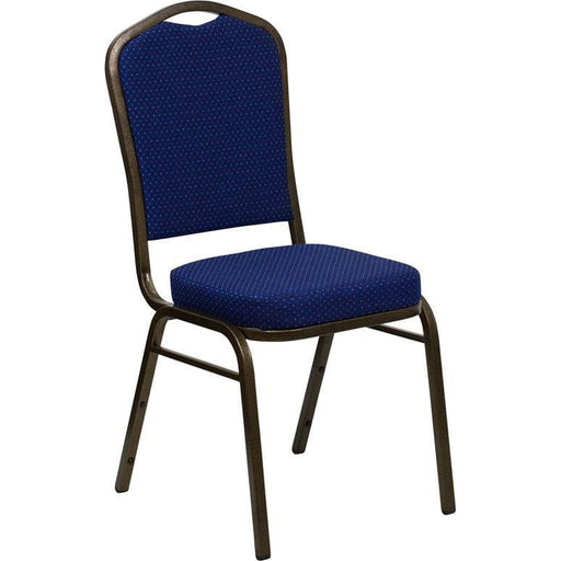 Hercules Series Crown Back Stacking Banquet Chair In Navy Blue Patterned Fabric - Gold Vein Frame - Banquet/church Stack Chairs
