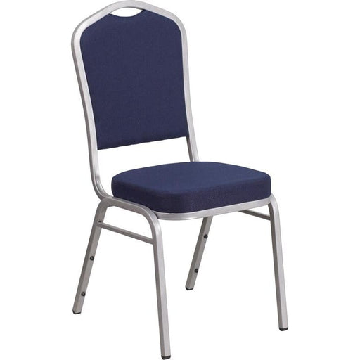 Hercules Series Crown Back Stacking Banquet Chair In Navy Fabric - Silver Frame - Banquet/church Stack Chairs