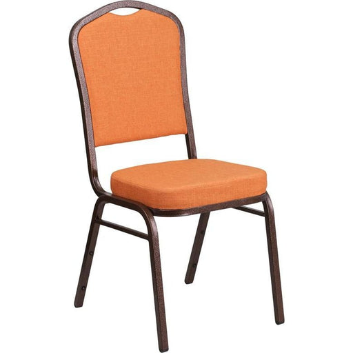 Hercules Series Crown Back Stacking Banquet Chair In Orange Fabric - Copper Vein Frame - Banquet/church Stack Chairs