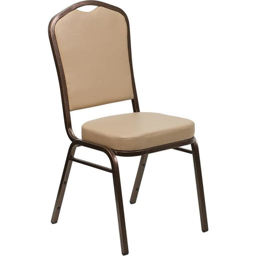 Hercules Series Crown Back Stacking Banquet Chair In Tan Vinyl - Copper Vein Frame - Banquet/church Stack Chairs