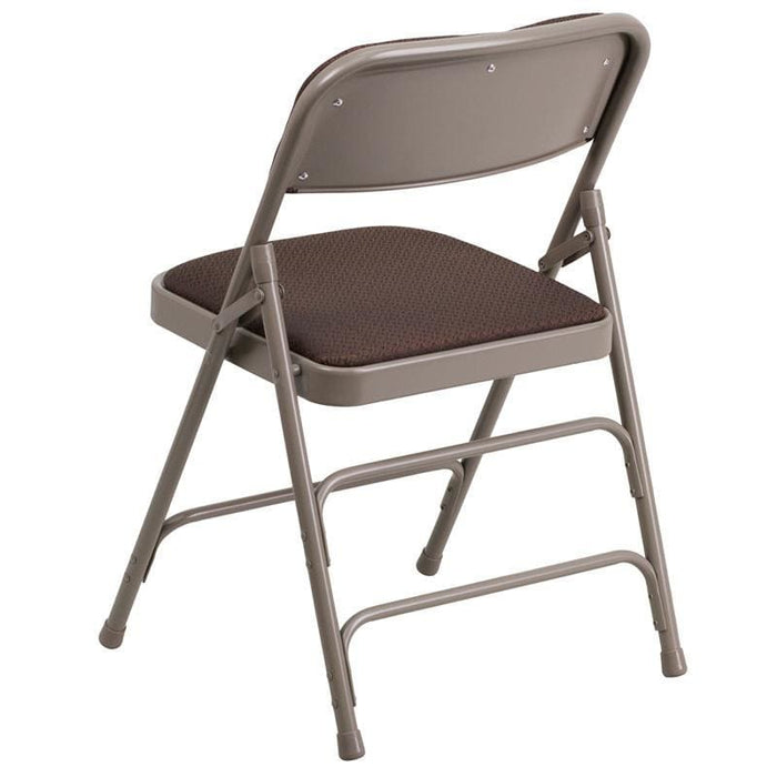Hercules Series Curved Triple Braced & Double Hinged Brown Patterned Fabric Metal Folding Chair - Folding Chairs