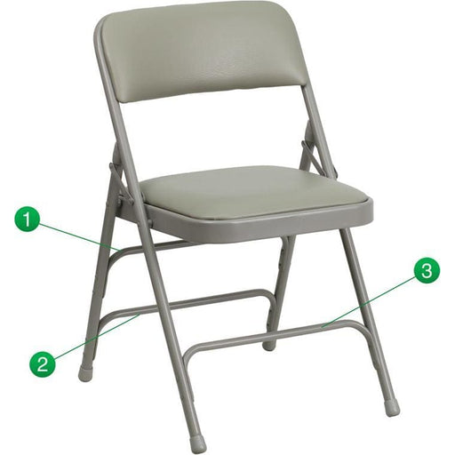 Hercules Series Curved Triple Braced & Double Hinged Gray Vinyl Fabric Metal Folding Chair - Folding Chairs