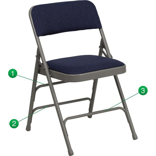 Hercules Series Curved Triple Braced & Double Hinged Navy Fabric Metal Folding Chair - Folding Chairs