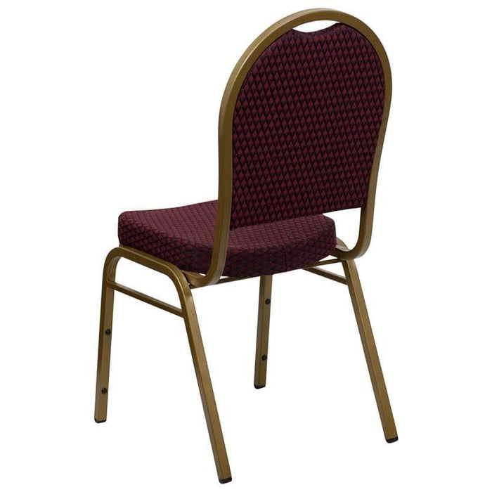 Hercules Series Dome Back Stacking Banquet Chair In Burgundy Patterned Fabric - Gold Frame - Banquet/church Stack Chairs