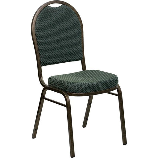 Hercules Series Dome Back Stacking Banquet Chair In Green Patterned Fabric - Gold Vein Frame - Banquet/church Stack Chairs