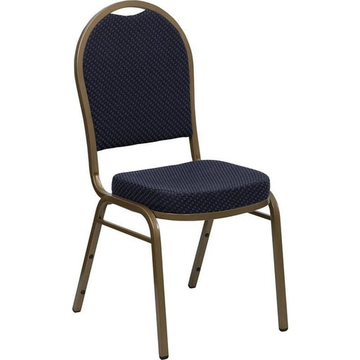 Hercules Series Dome Back Stacking Banquet Chair In Navy Patterned Fabric - Gold Frame - Banquet/church Stack Chairs