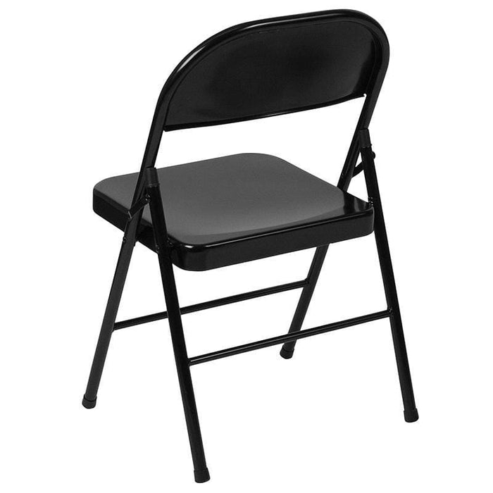 Hercules Series Double Braced Black Metal Folding Chair - Folding Chairs