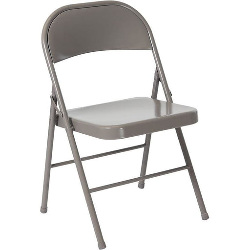 Hercules Series Double Braced Gray Metal Folding Chair - Folding Chairs