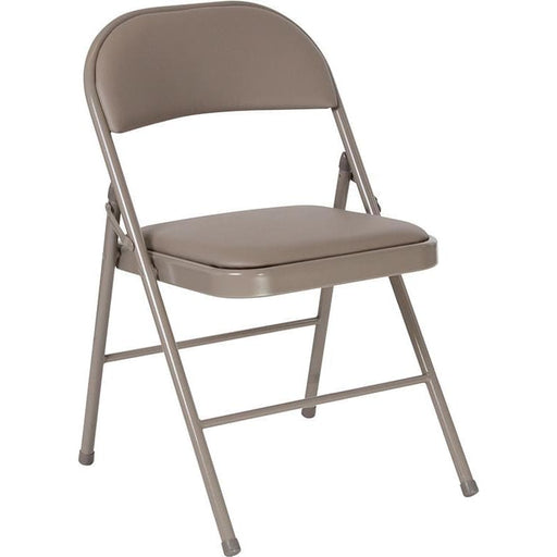 Hercules Series Double Braced Gray Vinyl Folding Chair - Folding Chairs