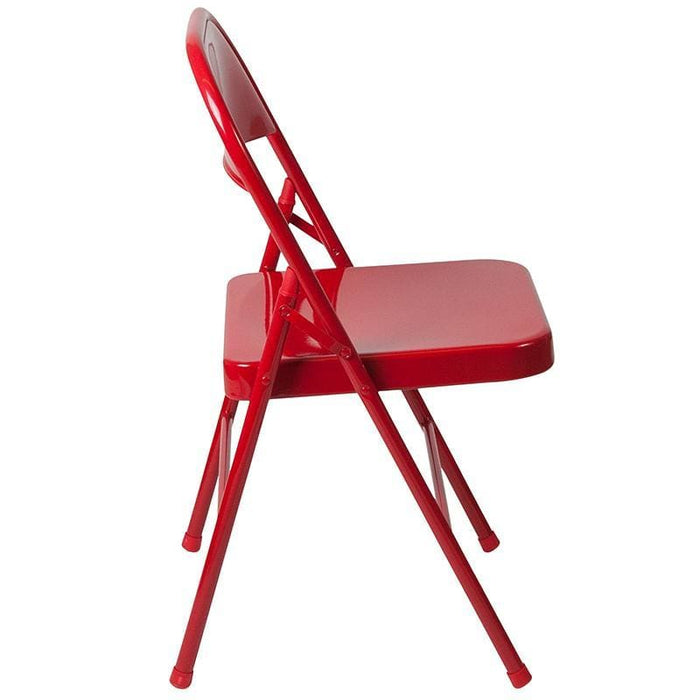 Hercules Series Double Braced Red Metal Folding Chair - Folding Chairs