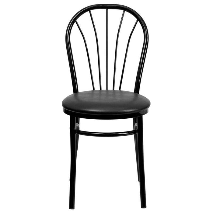 Hercules Series Fan Back Metal Chair - Black Vinyl Seat - Restaurant Chairs