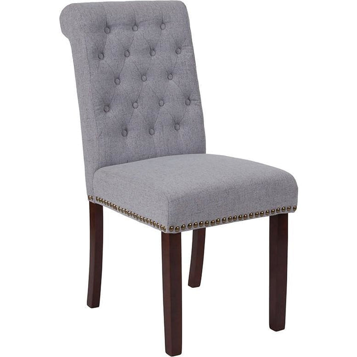 Hercules Series Light Gray Fabric Parsons Chair With Rolled Back Nail Head Trim And Walnut Finish - Dining Chairs