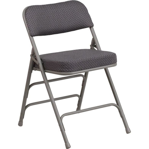 Hercules Series Premium Curved Triple Braced & Double Hinged Gray Fabric Metal Folding Chair - Folding Chairs