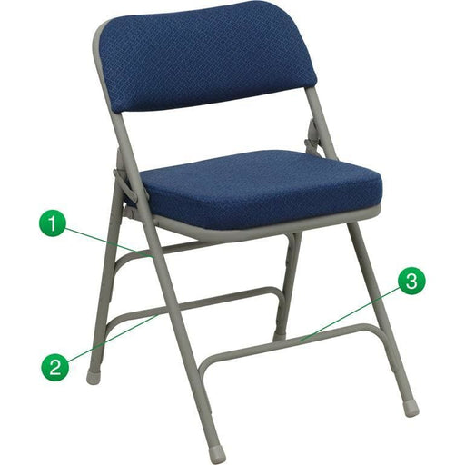 Hercules Series Premium Curved Triple Braced & Double Hinged Navy Fabric Metal Folding Chair - Folding Chairs
