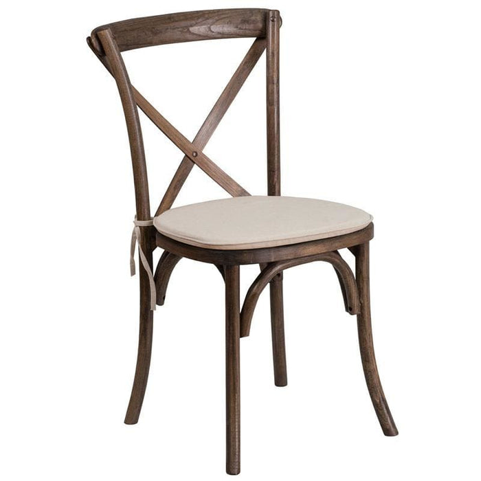 Hercules Series Stackable Early American Wood Cross Back Chair With Cushion - Chiavari Chairs