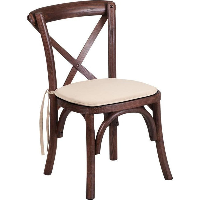 Hercules Series Stackable Kids Mahogany Wood Cross Back Chair With Cushion - Chiavari Chairs