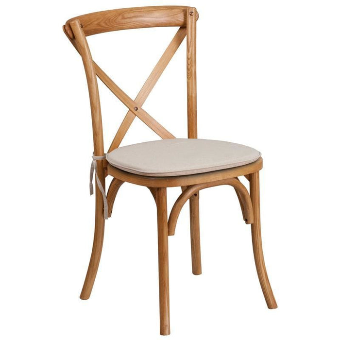 Hercules Series Stackable Oak Wood Cross Back Chair With Cushion - Chiavari Chairs