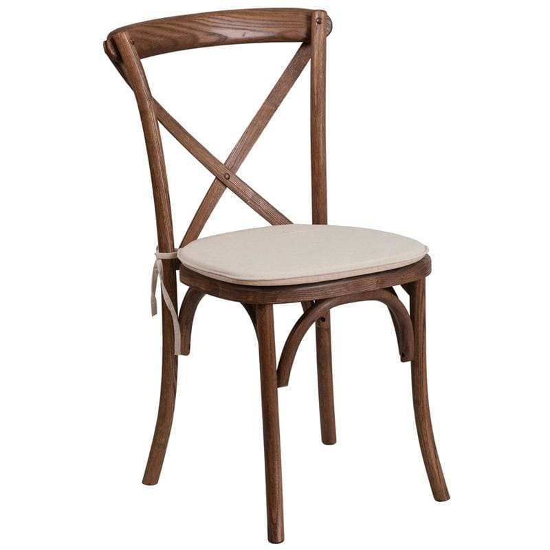 Hercules Series Stackable Pecan Wood Cross Back Chair With Cushion - Chiavari Chairs