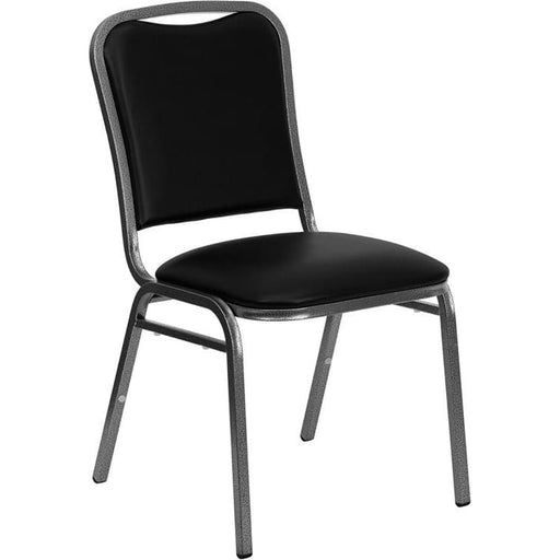 Hercules Series Stacking Banquet Chair In Black Vinyl - Silver Vein Frame - Banquet/church Stack Chairs