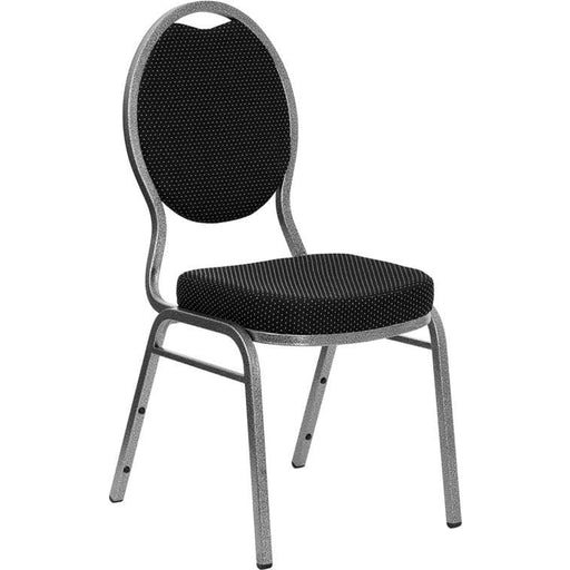 Hercules Series Teardrop Back Stacking Banquet Chair In Black Patterned Fabric - Silver Vein Frame - Banquet/church Stack Chairs