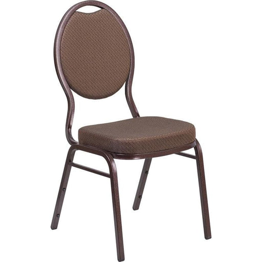 Hercules Series Teardrop Back Stacking Banquet Chair In Brown Patterned Fabric - Copper Vein Frame - Banquet/church Stack Chairs