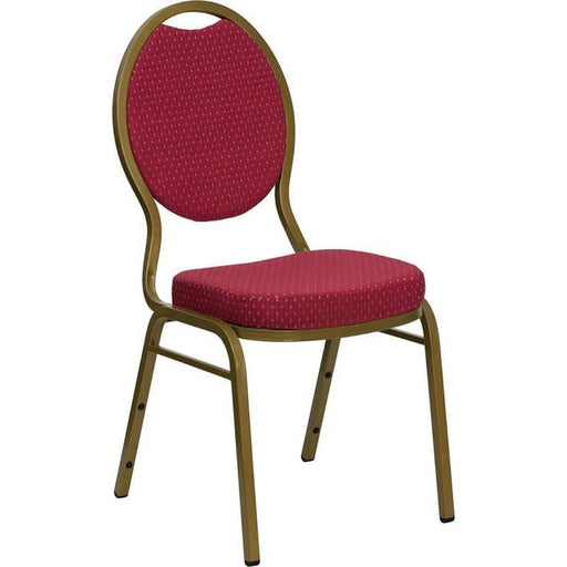 Hercules Series Teardrop Back Stacking Banquet Chair In Burgundy Patterned Fabric - Gold Frame - Banquet/church Stack Chairs
