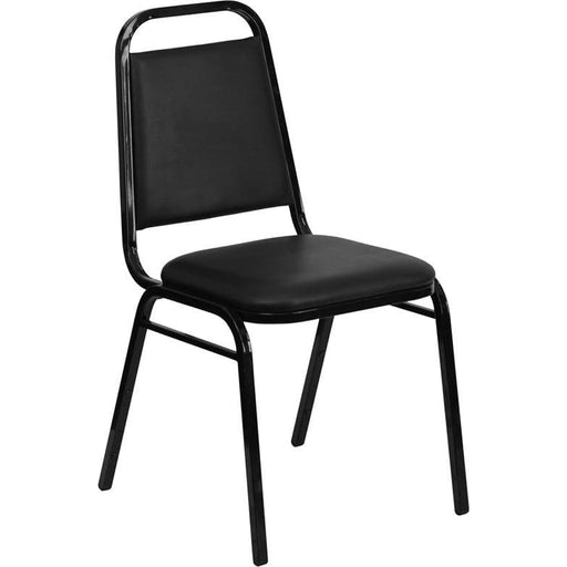 Hercules Series Trapezoidal Back Stacking Banquet Chair In Black Vinyl - Black Frame - Banquet/church Stack Chairs