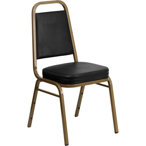 Hercules Series Trapezoidal Back Stacking Banquet Chair In Black Vinyl - Gold Frame - Banquet/church Stack Chairs