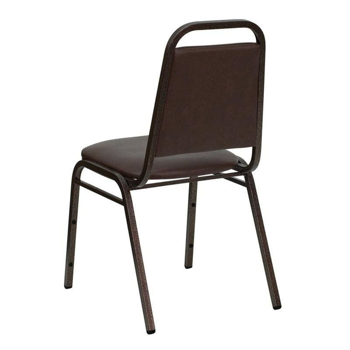 Hercules Series Trapezoidal Back Stacking Banquet Chair In Brown Vinyl - Copper Vein Frame - Banquet/church Stack Chairs