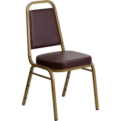 Hercules Series Trapezoidal Back Stacking Banquet Chair In Brown Vinyl - Gold Frame - Banquet/church Stack Chairs