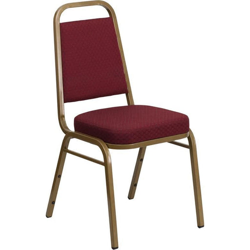 Hercules Series Trapezoidal Back Stacking Banquet Chair In Burgundy Patterned Fabric - Gold Frame - Banquet/church Stack Chairs