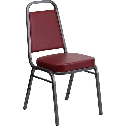 Hercules Series Trapezoidal Back Stacking Banquet Chair In Burgundy Vinyl - Silver Vein Frame - Banquet/church Stack Chairs