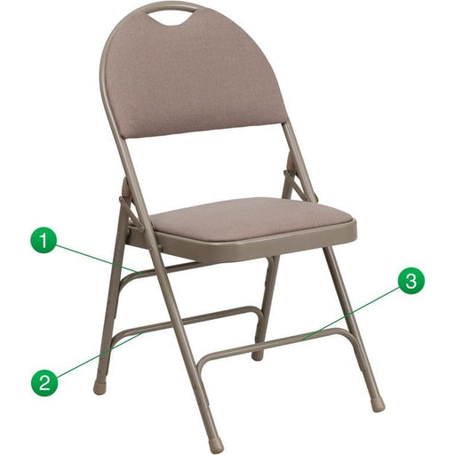 Hercules Series Ultra-Premium Triple Braced Beige Fabric Metal Folding Chair With Easy-Carry Handle - Folding Chairs